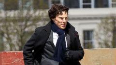 Benedict Cumberbatch Reports to the Sherlock Set