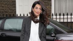 Amal Clooney Steps Out in Stripes in London