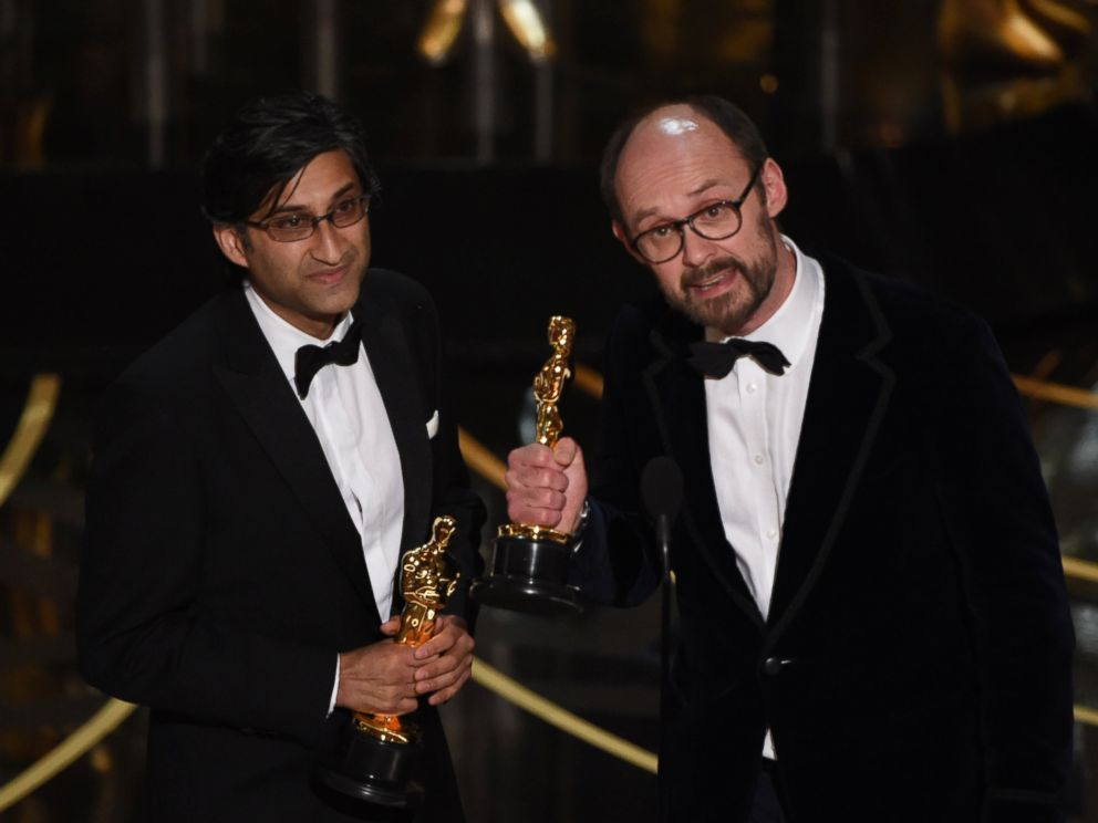 PHOTO:Director Asif Kapadia and James Gay-Rees accept the award for Best Documentary Feature, Amy, on stage at the 88th Oscars, Feb. 28, 2016, in Hollywood, Calif.