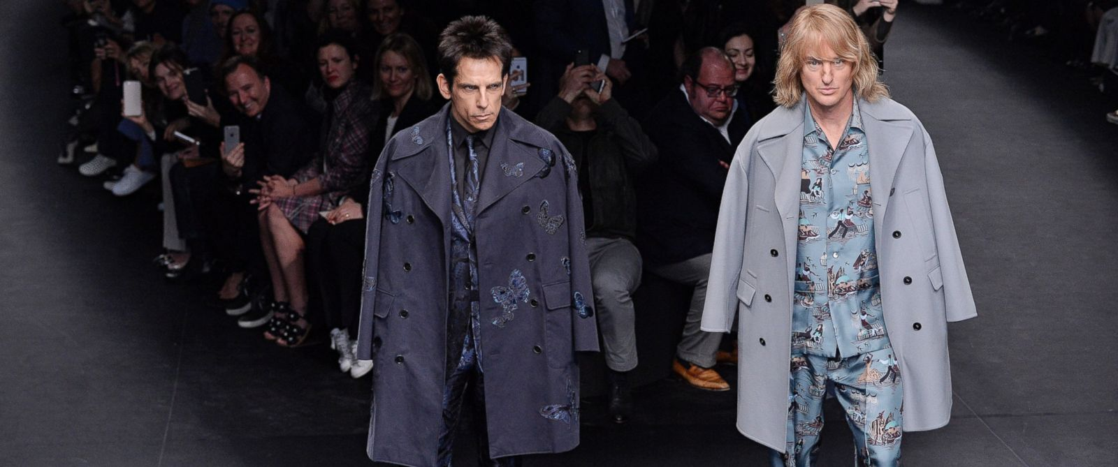 PHOTO: Zoolander stars Ben Stiller (L) and Owen Wilson (R) walk the runway at the Valentino Autumn Winter 2015 fashion show during Paris Fashion Week on March 10, 2015 in Paris.
