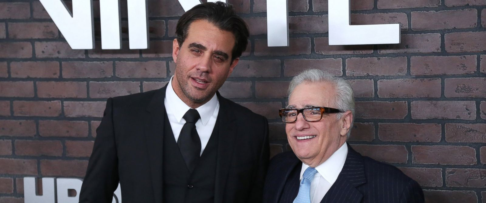 """PHOTO: Bobby Cannavale and Martin Scorsese attend the New York Premiere of """"Vinyl"""" at Ziegfeld Theatre, Jan.15, 2016, in New York."""