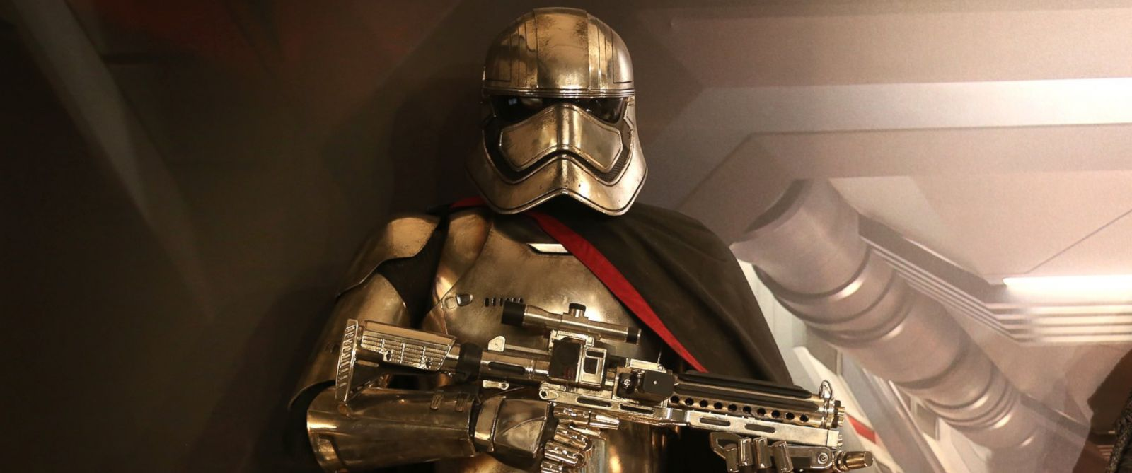 """PHOTO: A replicas on display of Star Wars character Captain Phasma, that will be in the new Star Wars film, """"The Force Awakens"""" on Dec. 3, 2015 in Toronto."""