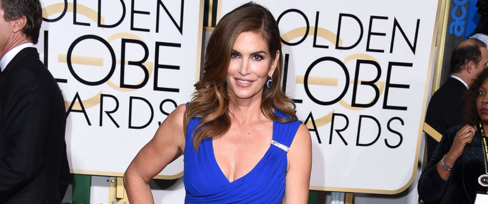 PHOTO: Cindy Crawford arrives at the 72nd Annual Golden Globe Awards at The Beverly Hilton Hotel, Jan.11, 2015, in Beverly Hills, Calif.