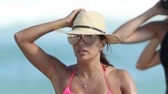 Eva Longoria Wears a Hot Pink Bikini