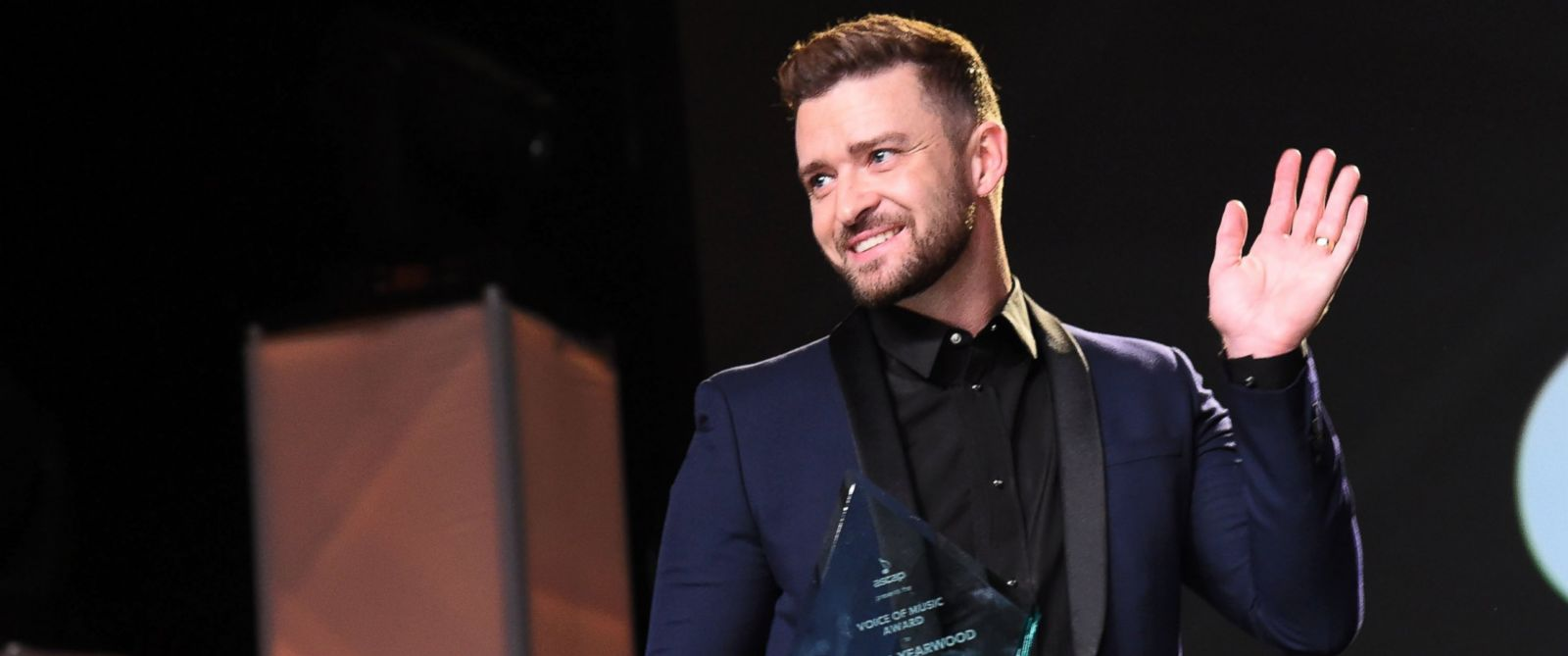 PHOTO: Singer-songwriter Justin Timberlake speaks onstage during the 53rd annual ASCAP Country Music awards at the Omni Hotel on Nov. 2, 2015 in Nashville, Tenn.