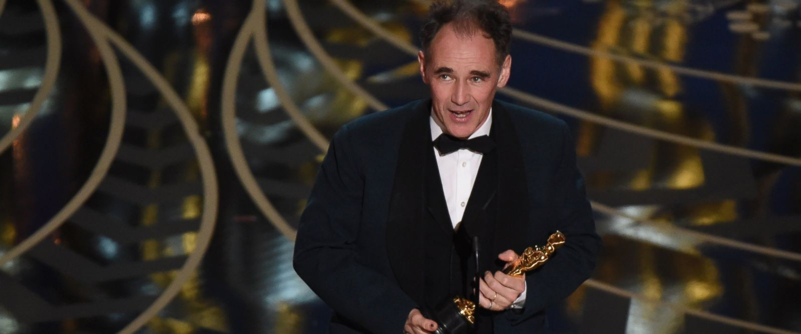 PHOTO:Actor Mark Rylance accepts his award for Best Supporting Actor at the 88th Oscars, Feb. 28, 2016, in Hollywood, Calif.