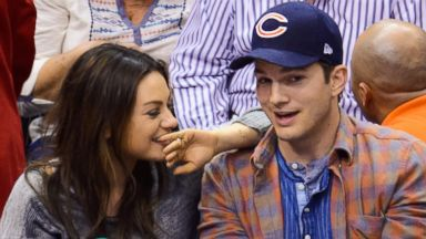 PHOTO: Mila Kunis, left and Ashton Kutcher attend a basketball between the Detroit Pistons and the Los Angeles Clippers at Staples Center, March 22, 2014 in Los Angeles.