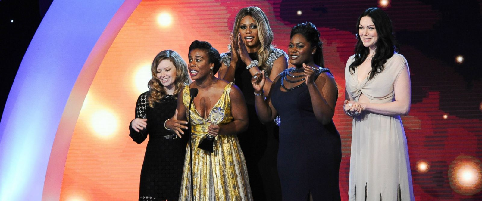 PHOTO: Actresses Natasha Lyonne, Uzo Aduba, Laverne Cox, Danielle Brooks, and Laura Prepon accept the Best Comedy Series award for Orange is the New Black onstage during the 4th Annual Critics Choice Television Awards on June 19, 2014.