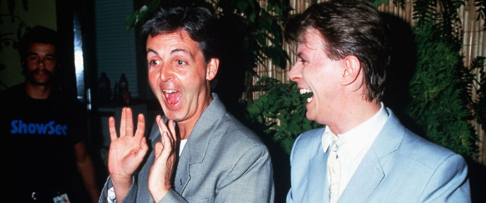 PHOTO: Musicians Paul McCartney and David Bowie are seen backstage at Live Aid in this July 13, 1985 file photo.