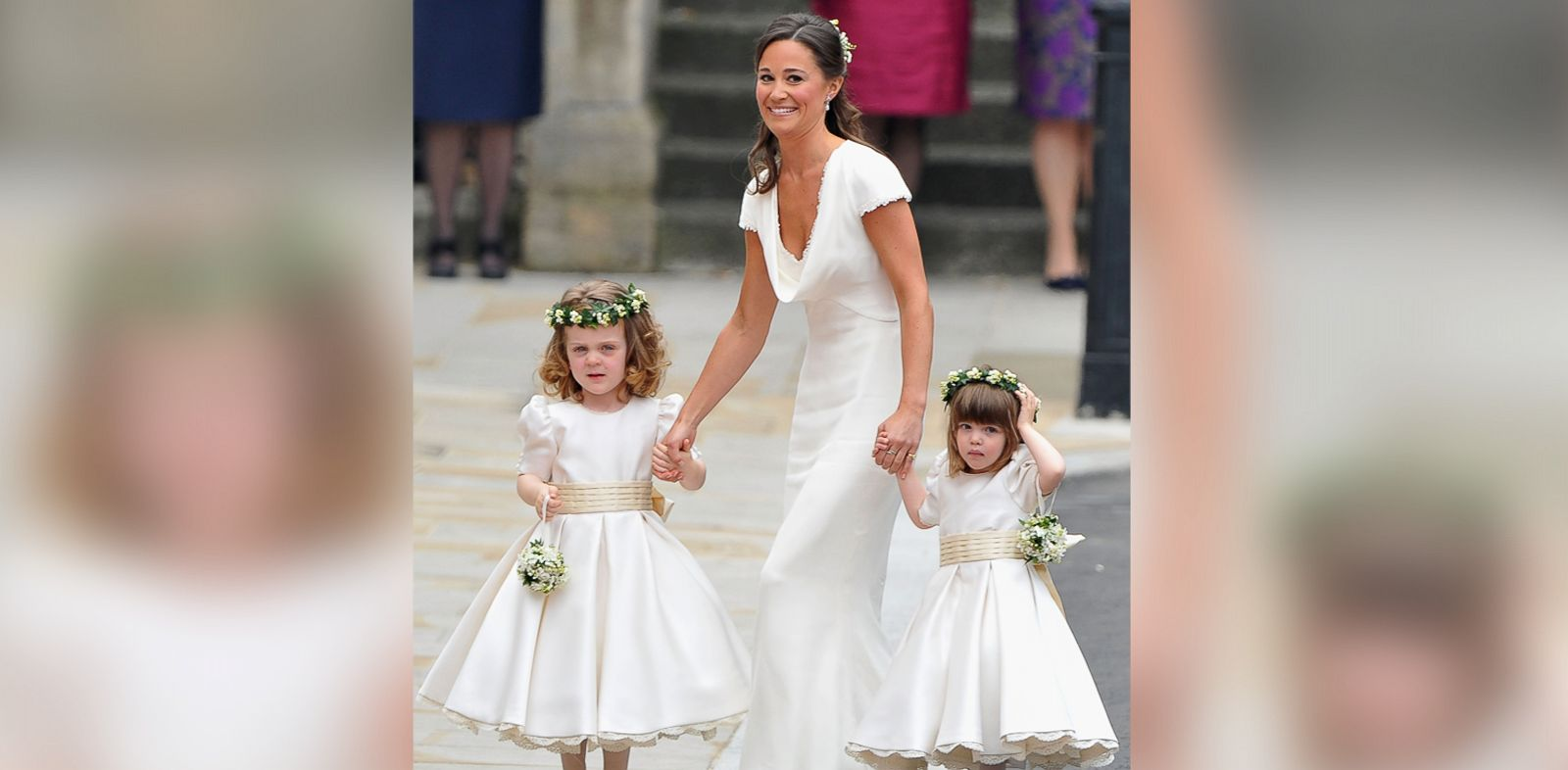 PHOTO: Sister of the bride and Maid of Honour Pippa Middleton holds hands with Grace Van Cutsem and Eliza Lopes as they arrive to attend the Royal Wedding in this April 29, 2011, file photo.