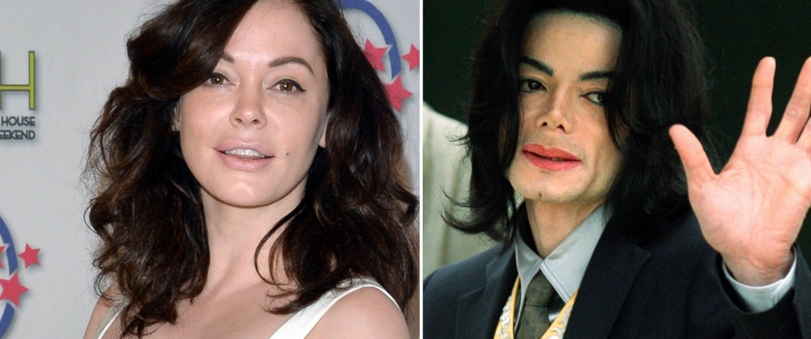 PHOTO: Rose McGowan, left, at the 2014 Annual Garden Brunch on May 3, 2014 in Washington, DC, and Michael Jackson, right, in Santa Maria, California on May 25, 2005.