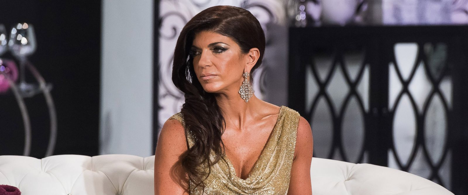 """PHOTO:Teresa Giudice is seen during the taping of """"The Real Housewives of New Jersey,"""" Reunion, Oct. 5, 2014."""