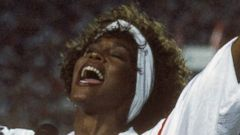 PHOTO: Whitney Houston sings the National Anthem before Super Bowl XXV at Tampa Stadium on Jan. 27, 1991 in Tampa, Florida.