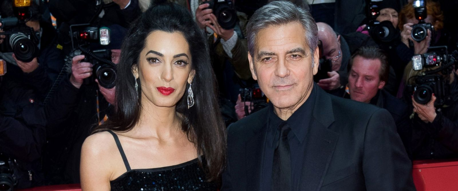 """PHOTO: George Clooney and his wife Amal attend the """"Hail, Caesar!"""" premiere during the 66th Berlinale International Film Festival Berlin at Berlinale Palace, Feb. 11, 2016, in Berlin."""