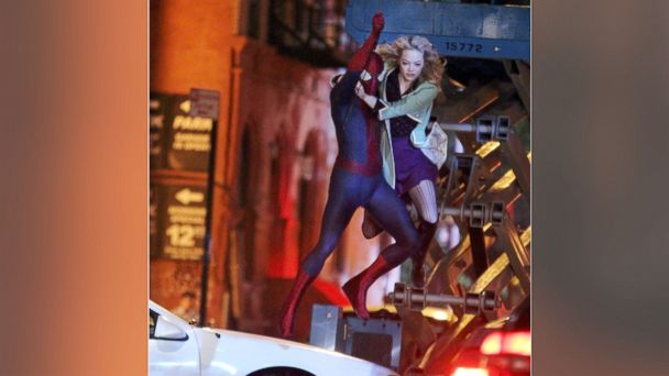 "PHOTO: Andrew Garfield and Emma Stone film an action scene on location for the film ""The Amazing Spiderman 2"" on June 4, 2013 in New York City."