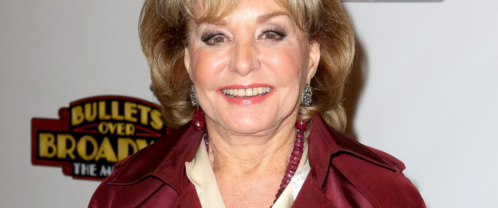 "PHOTO: Barbara Walters attends the ""Bullets Over Broadway"" opening night celebration at St. James Theatre, April 10, 2014, in New York."