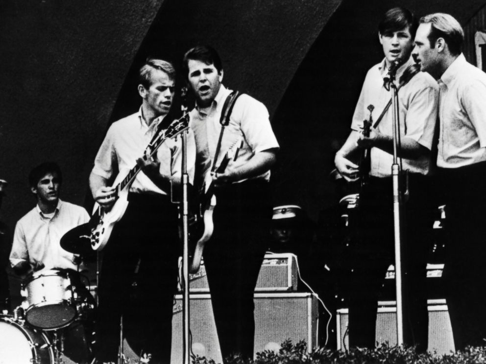 PHOTO:The Beach boys, l-r; Dennis Wilson, Al Jardine, Carl Wilson, Brian Wilson, Mike Love , performing at the Hollywood Bowl, Oct.19, 1963.