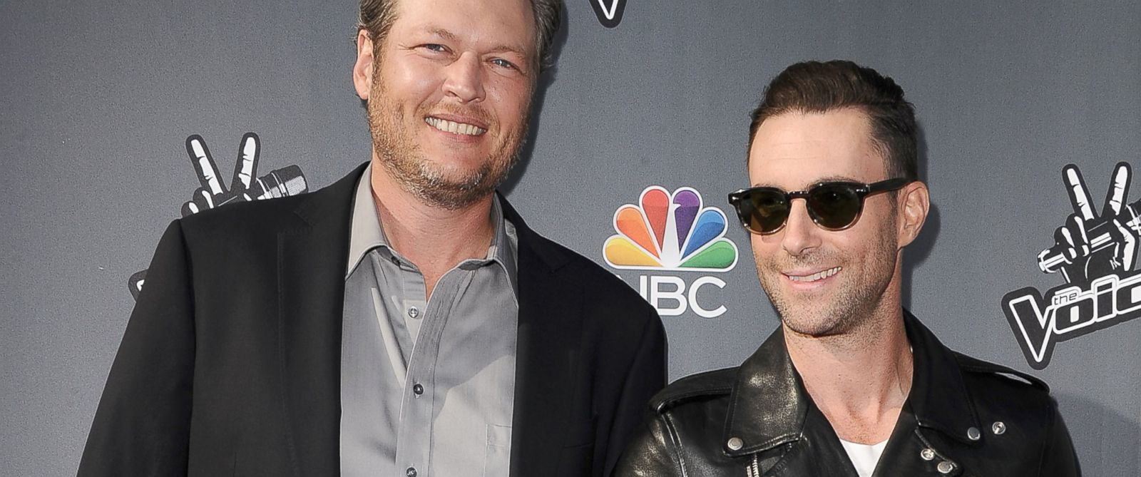 """PHOTO: Blake Shelton and Adam Levine attend NBCs """"The Voice"""" red carpet event at The Sayers Club, April 3, 2014 in Hollywood, Calif."""