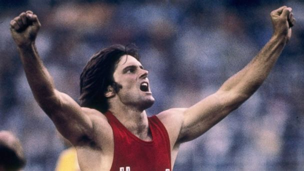 PHOTO: Bruce Jenner of the United States celebrates during his record setting performance in the decathlon in the 1976 Summer Olympics in Montreal.