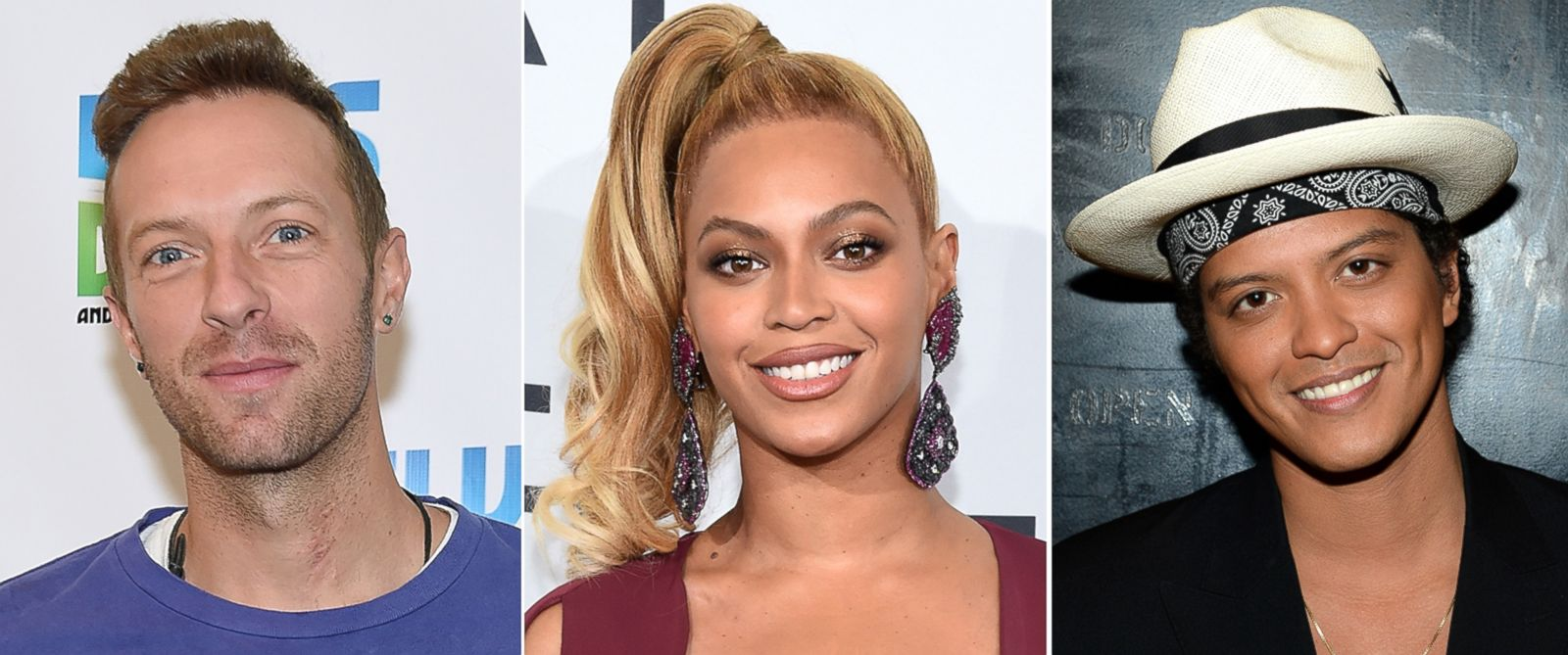 PHOTO: Pictured (L-R) are Chris Martin of Coldplay in New York City, Nov. 24, 2015, Beyonce in New York City, Oct. 20, 2015 and Bruno Mars in Washington, Dec. 7, 2014.