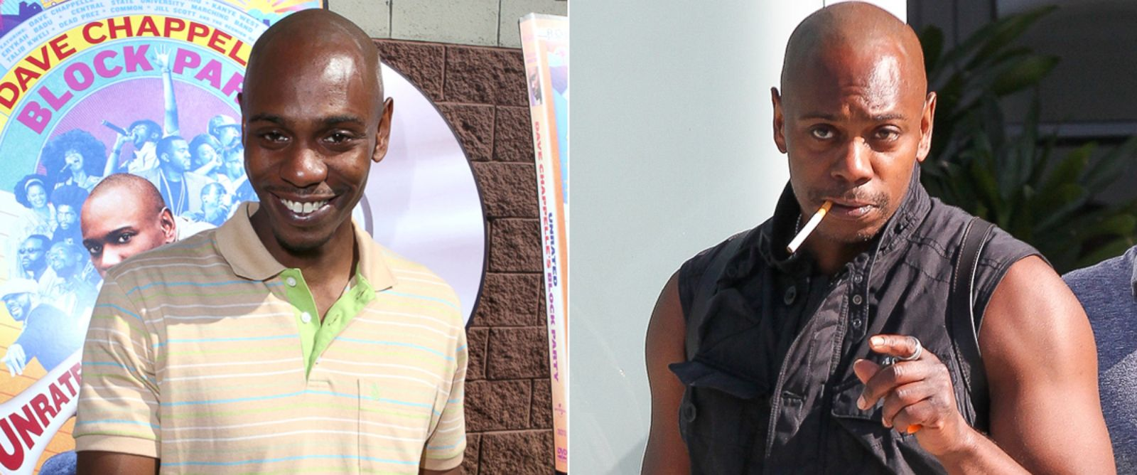 PHOTO: Dave Chappell in 2006 and in 2014.