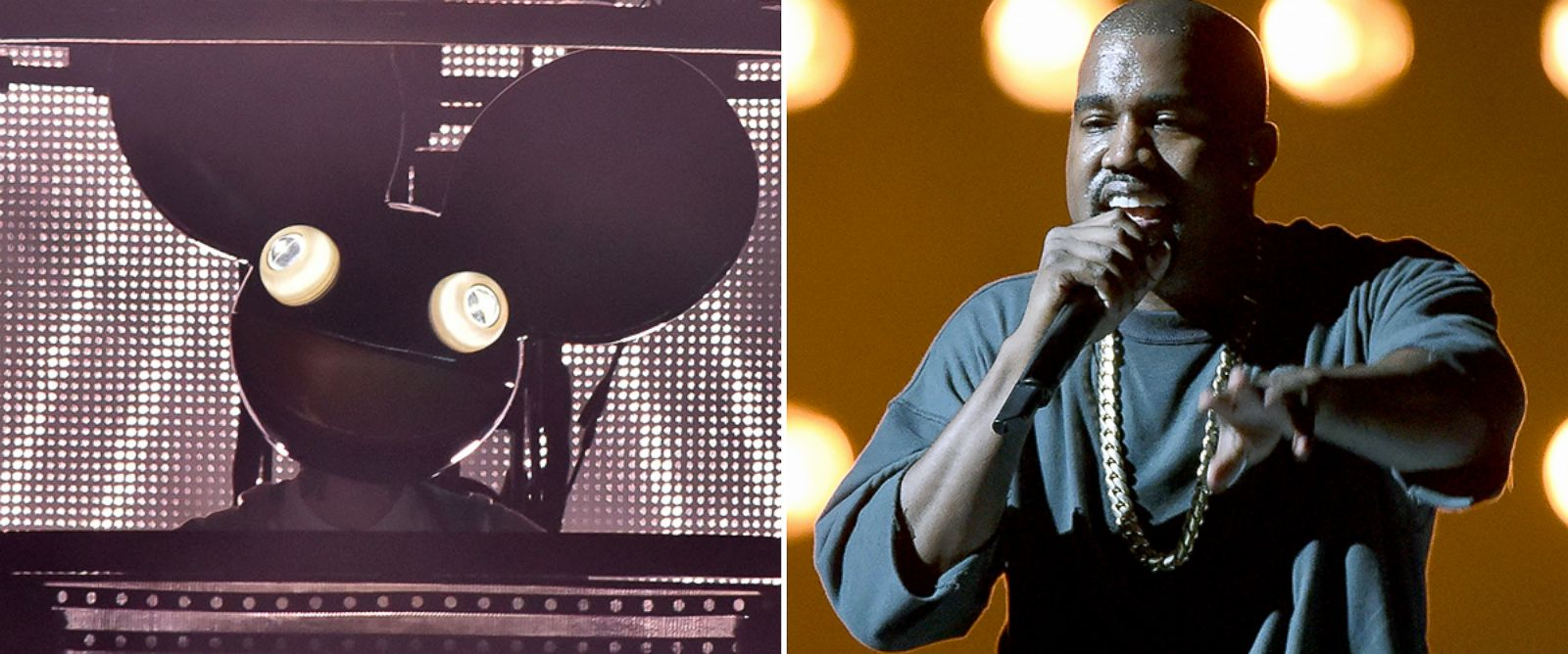 PHOTO: Deadmau5, left, performs a set. Kanye West, right, performs on stage.