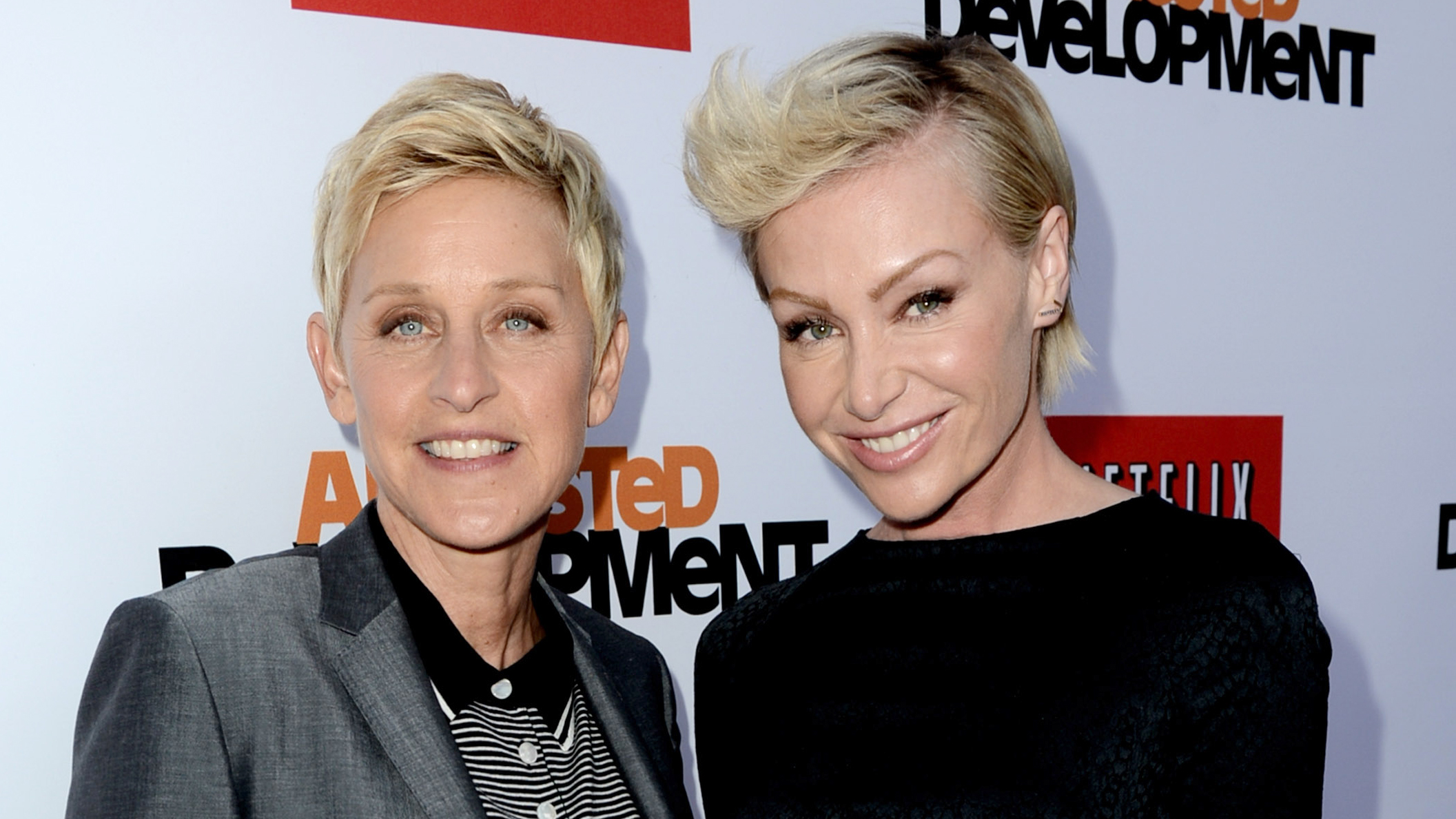 "PHOTO: Ellen Degeneres (L) and Portia de Rossi arrive at the premiere of Netflix's ""Arrested Development"" Season 4 at the Chinese Theatre, April 29, 2013 in Los Angeles, Calif."