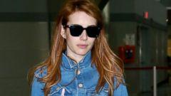 Emma Roberts Sports All Denim for a Flight