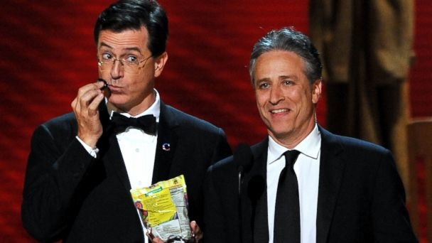 PHOTO: TV Hosts Stephen Colbert, left, and Jon Stewart present and award onstage during the 60th Primetime Emmy Awards held at Nokia Theatre in this Sept. 21, 2008, file photo in Los Angeles, Calif.