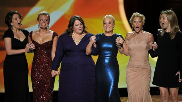PHOTO: Comedians Tina Fey, Martha Plimpton, Melissa McCarthy, Amy Poehler, Edie Falco and Laura Linney speak onstage during the 63rd Primetime Emmy Awards at the Nokia Theatre L.A. Live in this Sept. 18, 2011, file photo in Los Angeles, United States.