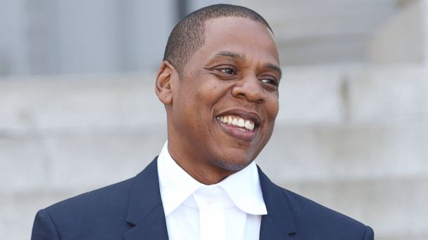 """PHOTO: Recording artist Shawn """"Jay Z"""" Carter, Makes Announcement on the Steps of City Hall Downtown Los Angeles for the Budweiser Made in America Music Festival on Labor Day Weekend at Los Angeles City Hall on April 16, 2014 in Los Angeles, Calif."""