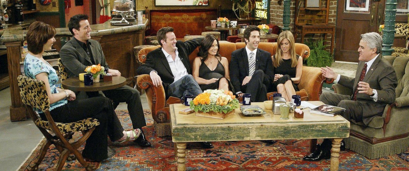 "PHOTO: The cast of ""Friends"", actors Lisa Kudrow, Matt LeBlanc, Matthew Perry, Courteney Cox-Arquette, David Schwimmer and Jennifer Aniston sat down with Jay Leno for a special ""Tonight Show,"" on the set of Central Perk after the series finale aired."