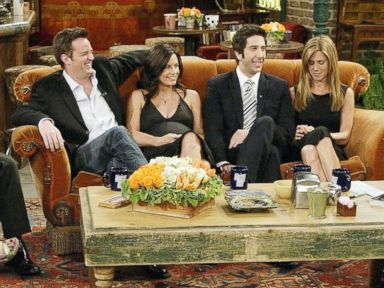 PHOTO: The cast of Friends, actors Lisa Kudrow, Matt LeBlanc, Matthew Perry, Courteney Cox-Arquette, David Schwimmer and Jennifer Aniston sat down with Jay Leno for a special Tonight Show, on the set of Central Perk after the series finale aired.