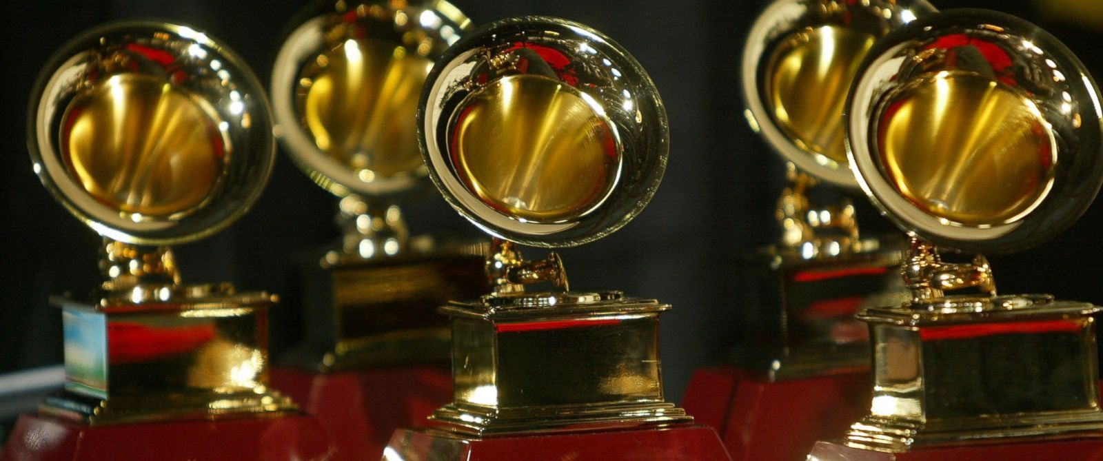 PHOTO: This file photos shows Grammy Award trophies on display in the press room at the 6th Annual Latin Grammy Awards, Nov. 3, 2005 in Los Angeles.