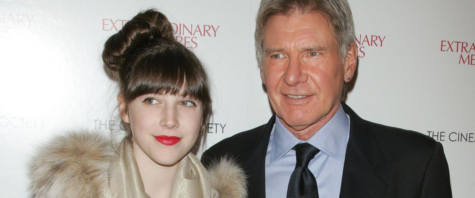 """PHOTO: Georgia Ford and actor Harrison Ford attend the Cinema Society with John & Aileen Crowley screening of """"Extraordinary Measures"""" at the School of Visual Arts Theater, Jan. 21, 2010 in New York."""