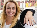 PHOTO: Hayden Panettiere flashes her engagement ring outside the Trump SoHo Hotel in New York