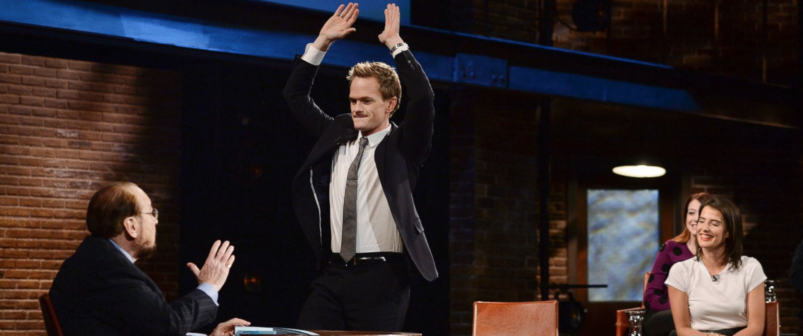 """PHOTO: The cast of """"How I Met Your Mother"""" is pictured during a taping of """"Inside the Actors Studio,"""" from left, host James Lipton, Neil Patrick Harris, and Cobie Smulders."""