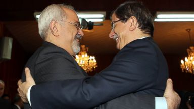 PHOTO: Turkish Foreign Minister Ahmet Davutoglu, right, meets with Foreign Minister of Iran Dr. Mohammad Javad Zarif, left, during the Developing 8s (D-8) Council of Foreign Ministers meeting, Dec. 19, 2013, in Islamabad.