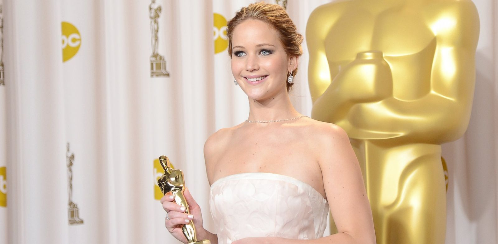 "PHOTO: Jennifer Lawrence, winner of the Best Actress award for ""Silver Linings Playbook,"" poses during the Oscars on Feb. 24, 2013 in Hollywood, Calif."