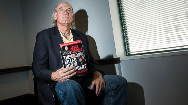 "PHOTO: Former pro wrestler and Governor of Minnesota from 1999 to 2003, Jesse Ventura pauses while speaking about his book ""They Killed Our President,"" Oct. 4, 2013 in Washington, DC."