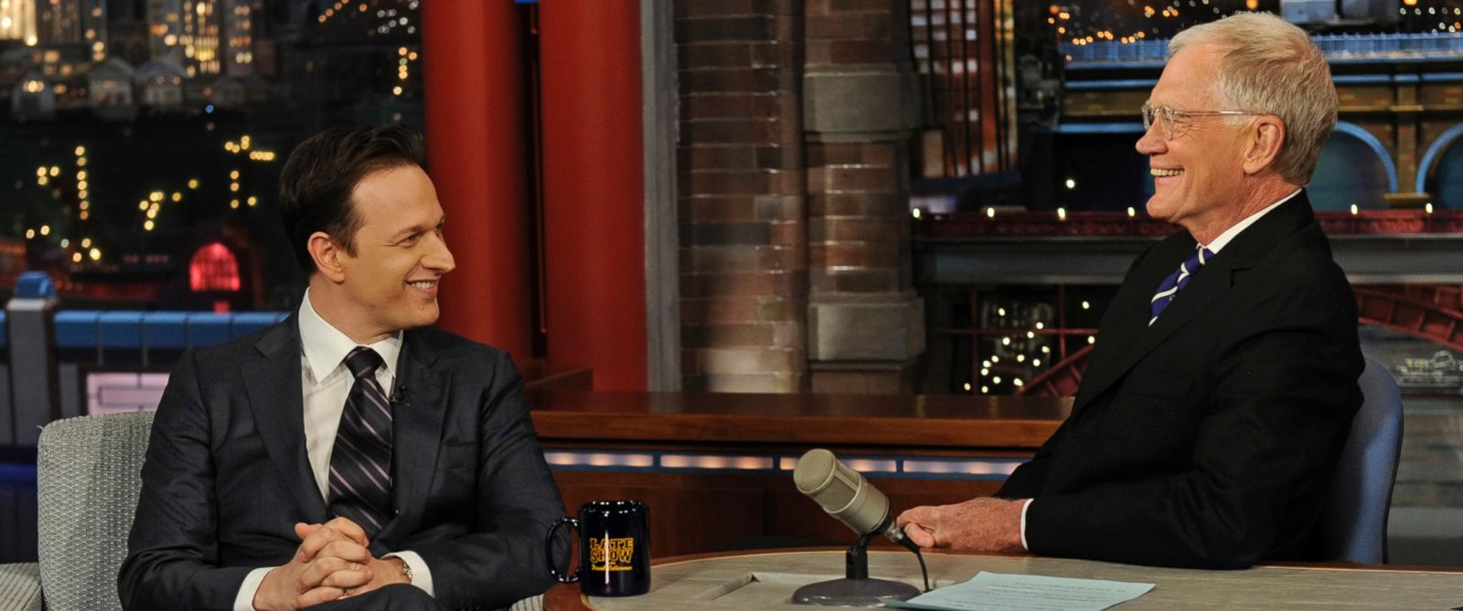 "PHOTO: Actor Josh Charles from the CBS drama series ""The Good Wife"" shares a laugh with Dave on the Late Show with David Letterman, March 24, 2014."
