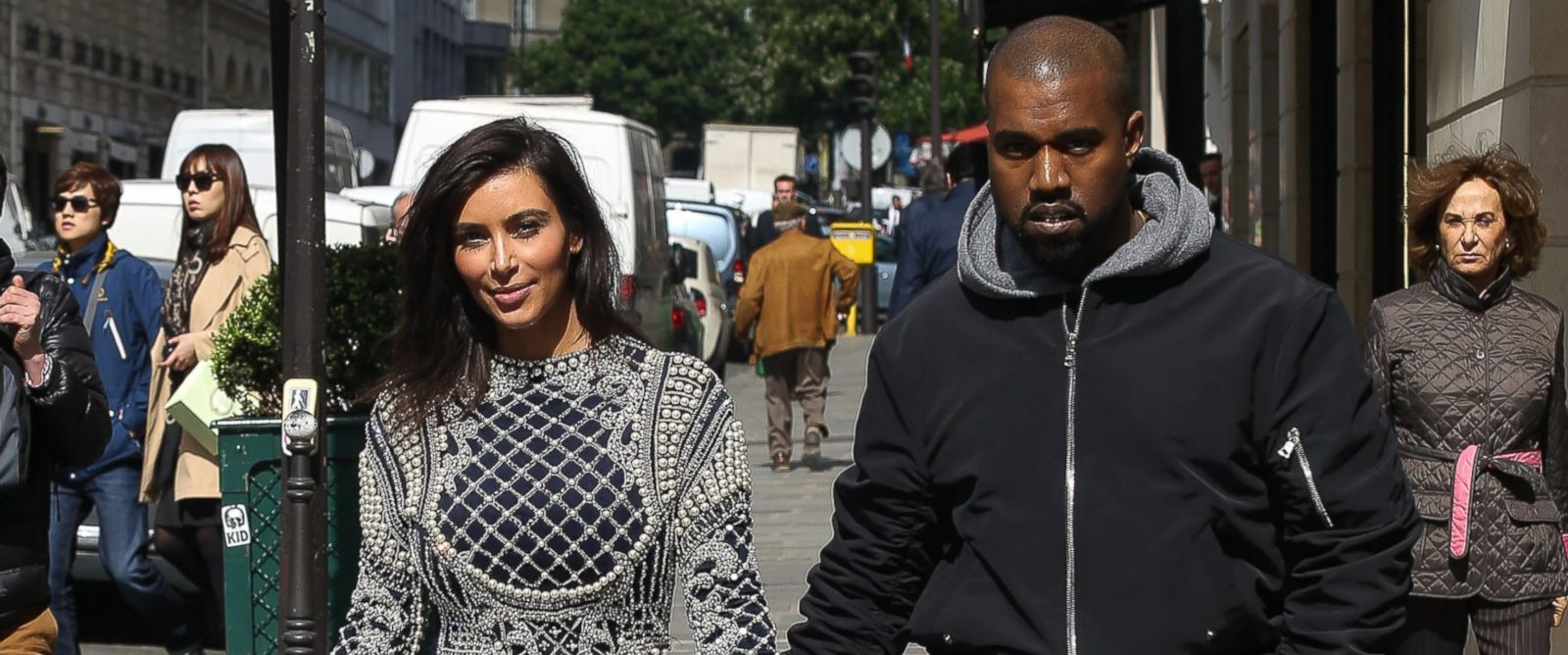 PHOTO: Kim Kardashian and Kanye West are seen strolling on rue Francois Premier on April 14, 2014 in Paris, France.