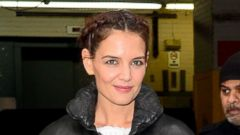 Katie Holmes Looks Chic in Black Leather