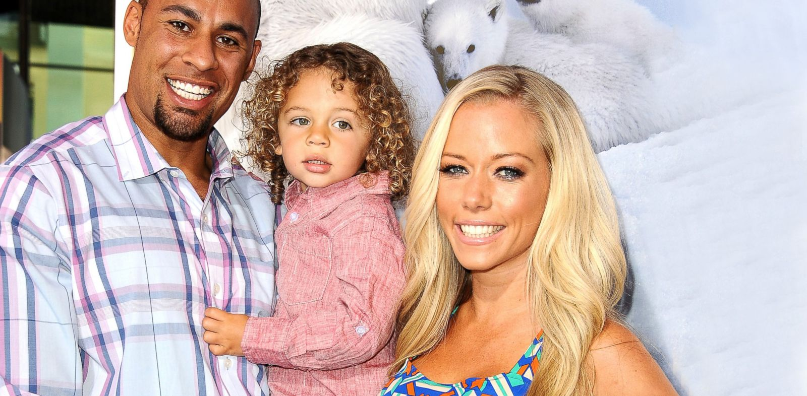 "PHOTO: Hank Baskett, Hank Baskett Jr. and Kendra Wilkinson attend the premiere of ""To The Arctic"" at California Science Center in Los Angeles, April 15, 2012."
