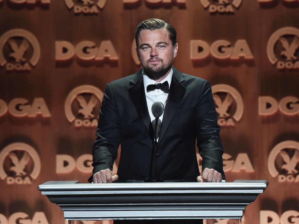 PHOTO: Leonardo DiCaprio speaks onstage at the 68th Annual Directors Guild Of America Awards at the Hyatt Regency Century Plaza, Feb. 6, 2016 in Los Angeles.