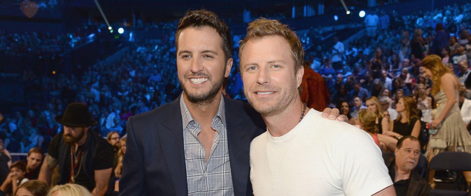 PHOTO: Luke Bryan, left, and Dierks Bentley attend the 2015 CMT Music awards at the Bridgestone Arena on June 10, 2015 in Nashville, Tenn.