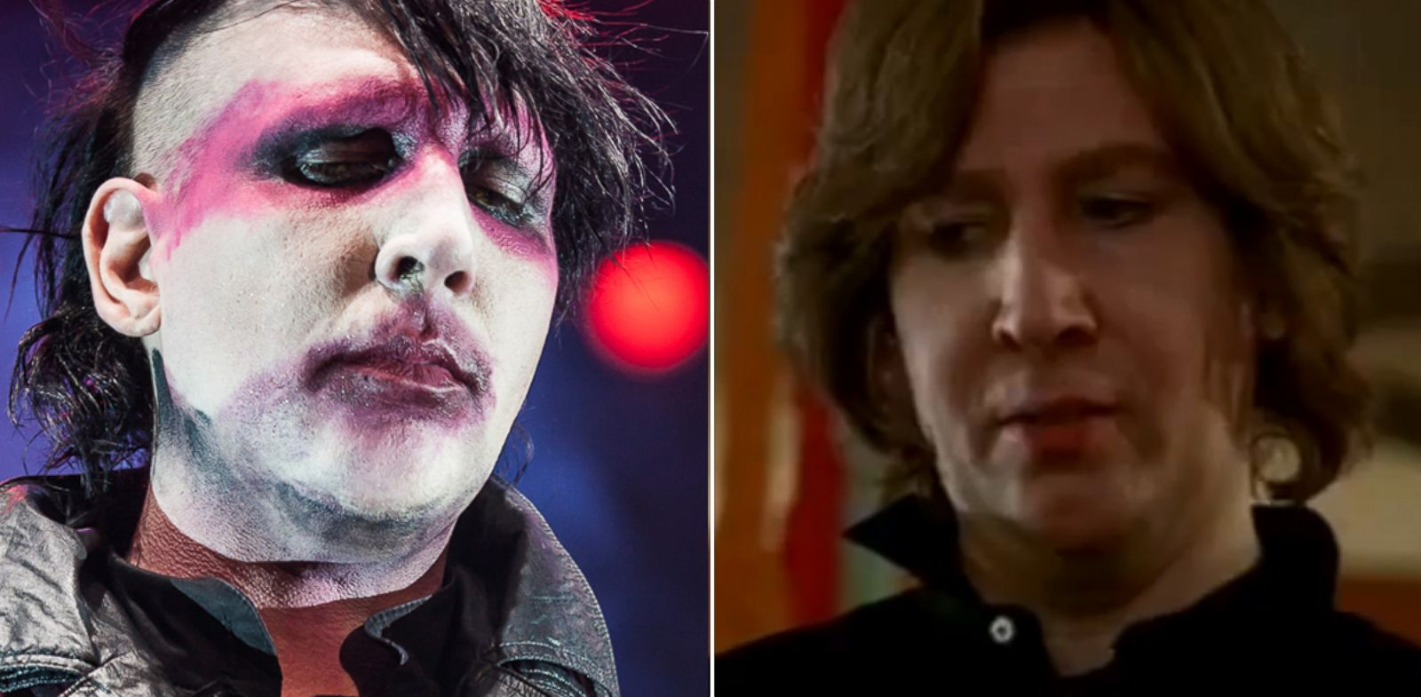 """PHOTO: At left, Marilyn Manson in 2012. At right, in """"Eastbound & Down."""""""