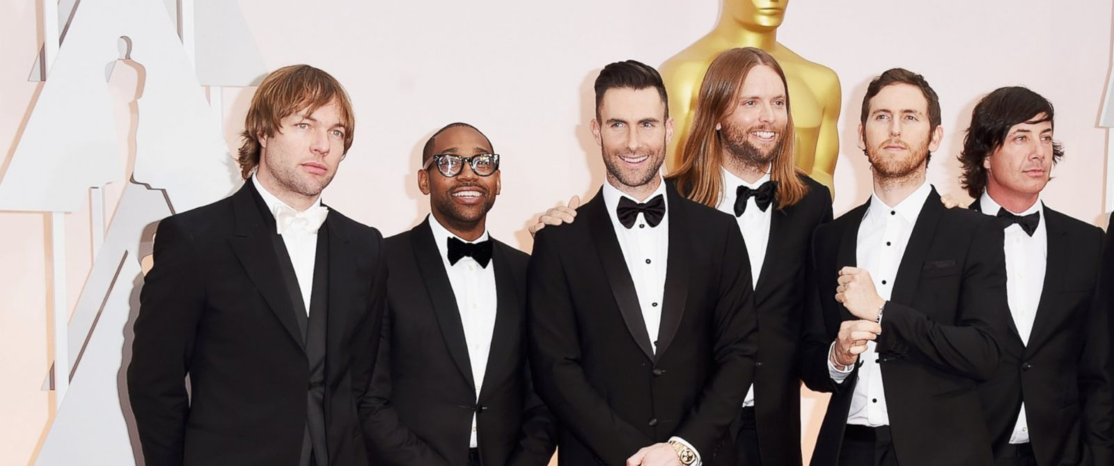PHOTO: Michael Madden, PJ Morton, Adam Levine, James Valentine, Jesse Carmichael, and Matt Flynn of Maroon 5 attends the 87th Annual Academy Awards at Hollywood & Highland Center, Feb. 22, 2015, in Hollywood, Calif.