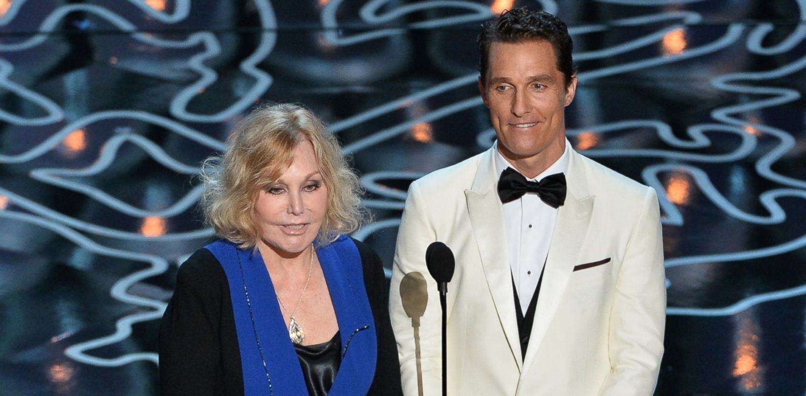 PHOTO: Kim Novak, left, and Matthew McConaughey, right, speak onstage during the Oscars on Mar. 2, 2014 in Hollywood, Calif.