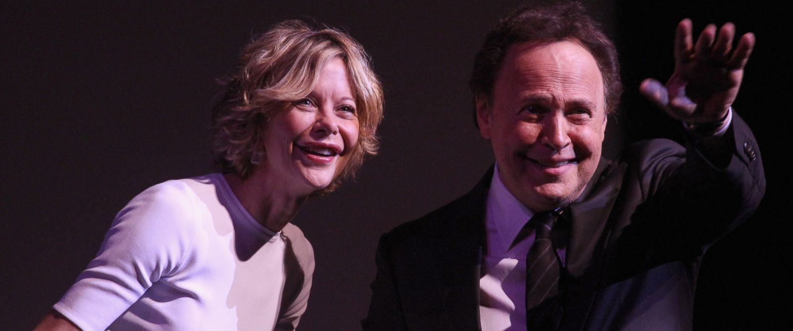 PHOTO: Meg Ryan, left, and Billy Crystal, right, speak onstage at the 41st Annual Chaplin Award Gala at Lincoln Center on April 28, 2014 in New York City.